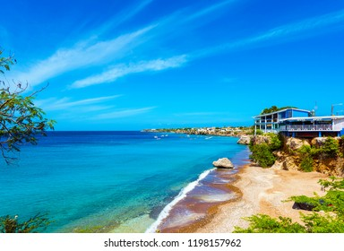 View of the sandy beach, Westpunt, Curacao, Netherlands. Copy space for text