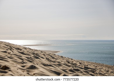 view of the sandy  dune of pilat and arcachon basin in france, aquitaine.