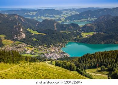 View Of Sankt Gilgen, Wolfgangsee And Zwolferhorn Mountain Cable Car - Salzkammergut, Salzburg, Austria