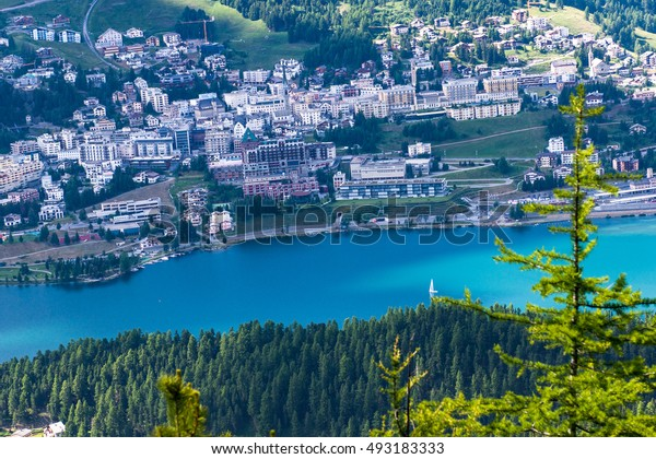 View of Sankt Moritz from above in summer