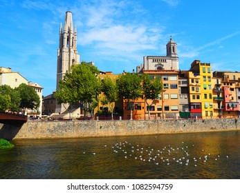 View of Sant Feliu bridge, church and cathedral in Girona, Spain