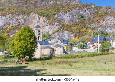 View of Sant Feliu romanesque church, Pyrenees, Lleida, Vall de Boi, Catalonia, Spain. This church belongs to the UNESCO world heritage site