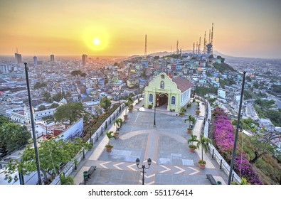 View of the Santa Ana chapel and the city of Guayaquil, from the top of the lighthouse on the Santa Ana hill. Late afternoon. Guayaquil, Ecuador.