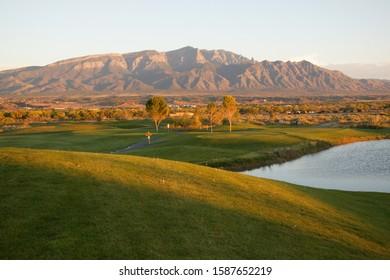 View of a Santa Ana Golf Club and Sandia mountains, Santa Ana Pueblo, New Mexico, USA