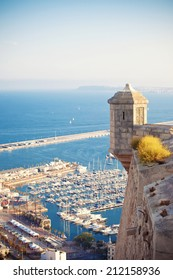 View from Santa Barbara castle to harbor Alicante, Spain