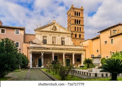 View of Santa Cecilia in Trastevere church Facade. Santa Cecilia is a 5th-century church in Rome, devoted to the Roman martyr Saint Cecilia. Rome, Lazio, Italy, Europe.