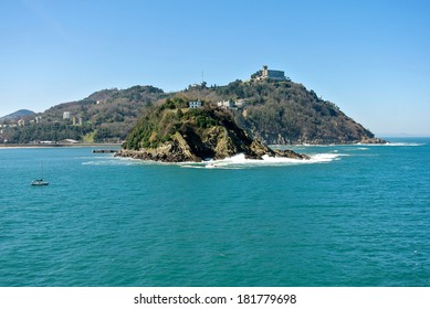 View of Santa Clara island and the Igeldo mountain in Spain