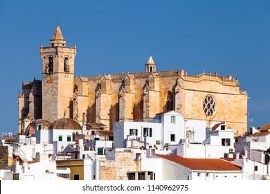 View of the Santa Maria de Ciutadella Cathedral, in Ciutadella, Menorca