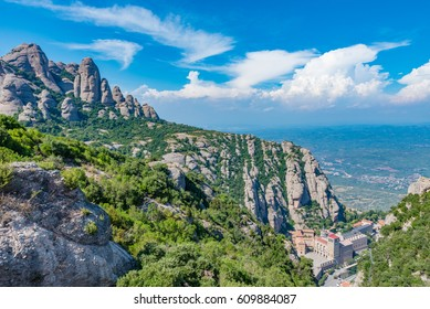 View of the Santa Maria de Montserrat Abbey in Catalonia, near Barcelona