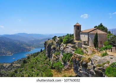 a view of Santa Maria de Siurana Church, on the top of a peak, in Siurana, Spain