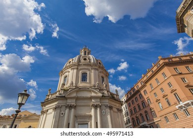 View at Santa Maria di Loreto church in Rome, Italy
