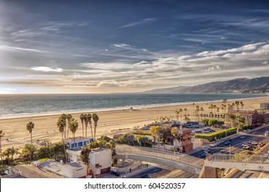 View of Santa Monica beach and Pacific Coast Highway on the California coast