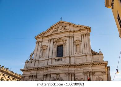 View at Sant'Andrea della Valle church in Rome, Italy