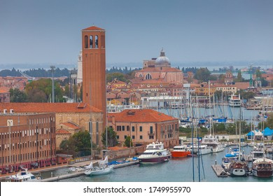 View of Sant'Elena and San Pietro churchs, Venice, Italy