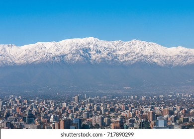 View of Santiago and Andes Mountains from Cerro San Cristobal, Chile