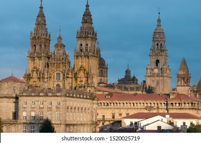 View of Santiago de Compostela with its Cathedral in the background at sunset.