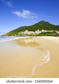 A view of Santinho beach empty in the low season- Florianopolis, Brazil