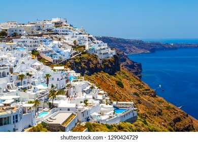 view from Santorini, Greece - sun, blue sky, sea and white stairs. Europe