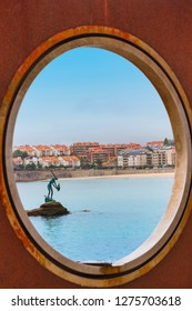 View of Sanxenxo tourist city from a rounded frame