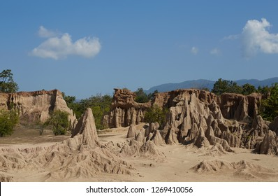 View from Sao Din Na Noi or Hom Chom and Khok Suea, dry land and soil texture, canyon in Si Nan National Park, Nan Thailand