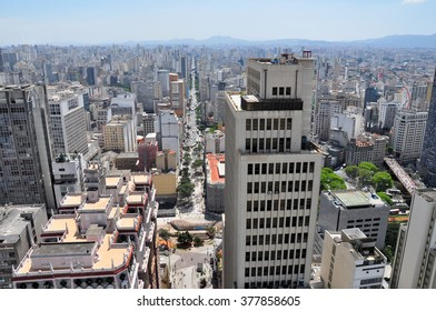 View of Sao Paulo skyline and Avenida Sao Joao seen from the Banespa Building, Brazil.