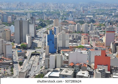 View of Sao Paulo skyline from the Banespa Building, Brazil.