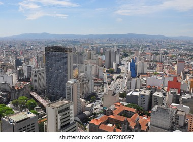 View of Sao Paulo skyline seen from the Banespa Building, Brazil.