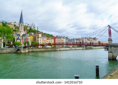 View of the Saone river, Saint Georges church and bride, and Notre-Dame basilica, in Lyon, France