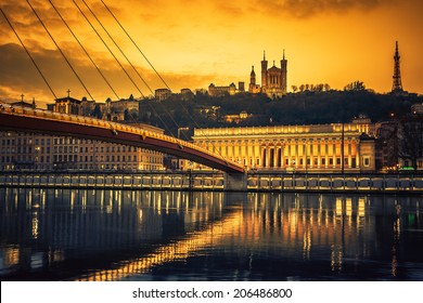 View of Saone river at sunset,Lyon, France.
