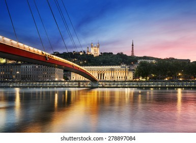 View of Saone river at sunset,Lyon, France.