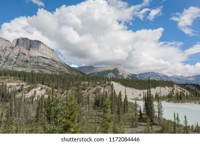 view of Saskatchewan River crossing and Mount Wilson along the icefields parkway Alberta Canada