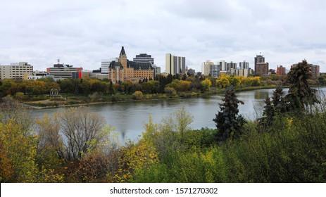 A View of Saskatoon, Canada skyline by river