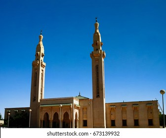 The view to Saudique Grand Mosque in Nouakchott in Mauritania
