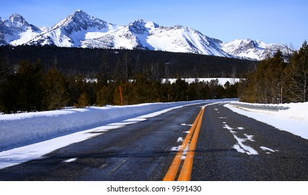 View of the Sawtooth Mountains from Idaho state highway
