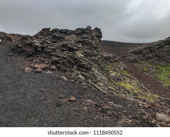 View from Saxholl (Saxhóll) Crater Top, Iceland - The crater is located in Snæfellsjökull National Park. Saxhóll Crater is estimated to have erupted 3,000 years ago. Snaefellsness peninsula, Iceland.