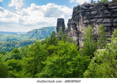 View of Saxon Switzerland national park in Czech Republic