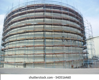 A view of scaffolding for the Tank construction / scaffolding