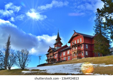 View of Scandic Holmenkollen Park Hotel above the city of Oslo, Norway: March 18, 2017