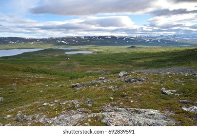 View to Scandinavian mountains in Lapland, Malla National Reserve