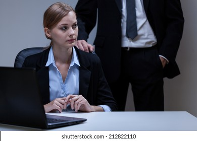 View of scared woman and self-confident boss