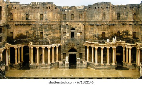View to scene of Bosra amphitheater at Syria