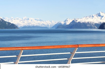 View of scenic alaska mountains from cruise ship