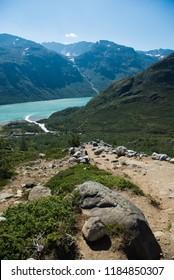 view of scenic Besseggen ridge over Gjende lake in Jotunheimen National Park, Norway