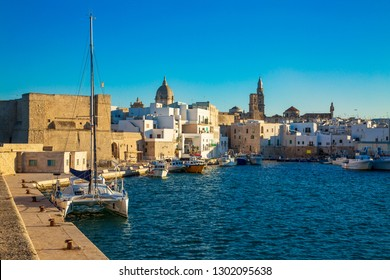 View of scenic city scape and a fishing harbor with marina in Monopoli, Italy
