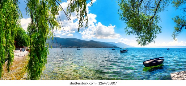View of the scenic lake Ohrid, Ohrid, Macedonia