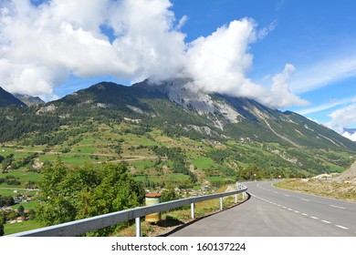 View of scenic mountains from a highway in Italy