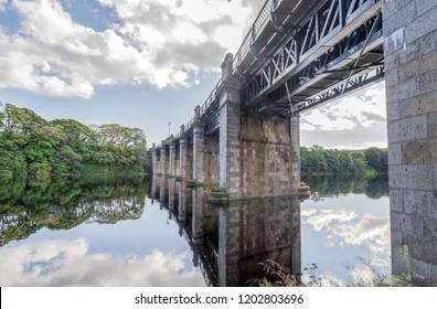 A view of scenic railway bridge across river Dee in Aberdeen, north-eastern Scotland