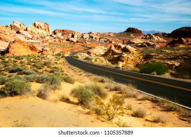 View from scenic Valley of Fire State Park near Las Vegas, Nevada