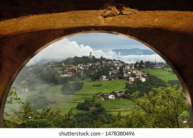 View of Völs am Schlern from a window of the castle of Prösels