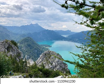 View from Schoberstein mountain summit over Attersee, Austria